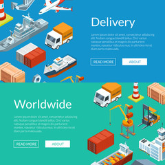 Vector isometric marine logistics and seaport web banner and postert templates illustration