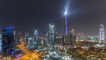 Dubai downtown cityscape with Burj Khalifa, LightUp light show aerial timelapse