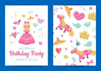 Vector cute cartoon magic and fairytale elements birthday party invitation template illustration