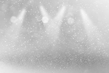 fantastic shiny glitter lights defocused stage spotlights bokeh abstract background with sparks fly, holiday mockup texture with blank space for your content