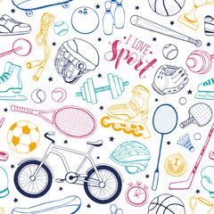 Seamless pattern from sport equipment in doodle style. Vector illustration. Hand drawn colorful sport accessories on white bakcground.
