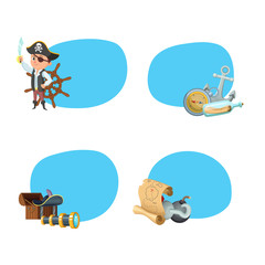 Vector cartoon sea pirates stickers with place for text set illustration