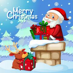 Santa delivery gift through chimney