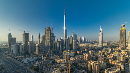 Beautiful luxury Dubai downtown aerial top view at sunset timelapse, Dubai, United Arab Emirates