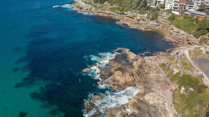 Aerial overhead view of Bondi Beach Pools along the ocean, Australia