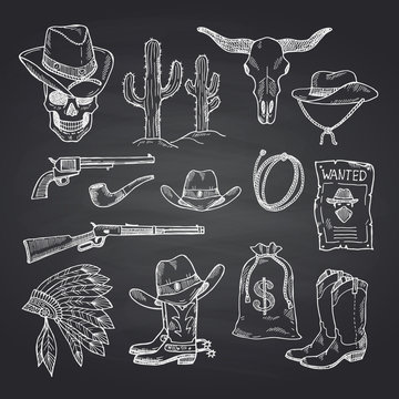 Vector hand drawn wild west cowboy elements set on black chalkboard background illustration