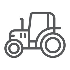 Tractor line icon, farm and agriculture, vehicle sign, vector graphics, a linear pattern on a white background.