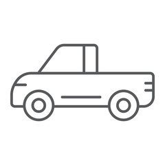 Pickup thin line icon, van and auto, car sign, vector graphics, a linear pattern on a white background.