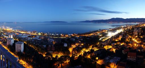 Rijeka Bay at night, Croatia