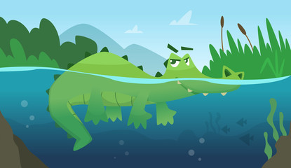 Crocodile in water. Alligator amphibian reptile wild green angry wild animal swimming vector cartoon background. Green alligator in river water, wildlife dangerous illustration