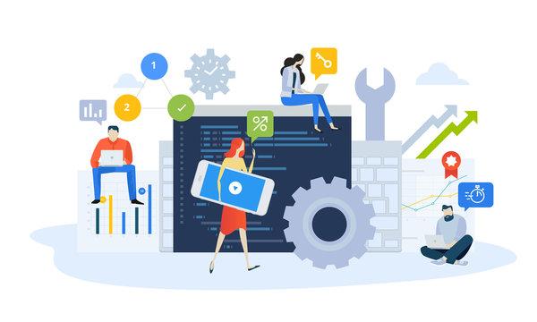 Vector illustration concept of mobile site and app design and development, optimization, updating. Creative flat design for web banner, marketing material, business presentation, online advertising.