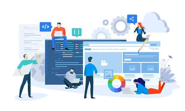 Vector illustration concept of website and app design and development. Creative flat design for web banner, marketing material, business presentation, online advertising.