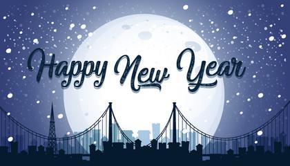 Happy New year city background