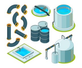 Water purification. Treatment watering cleaning system chemical laboratory vector isometric icons. Illustration of purification isometric system, reservoir tank water