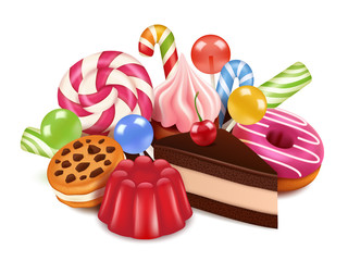 Dessert illustrations. Background with homemade cakes, chocolate candy lollipop and sweets. Vector high res pictures of tasty desserts. Illustration of confectionery, delicious yummy dessert