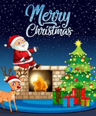 Santa and deer on christmas template