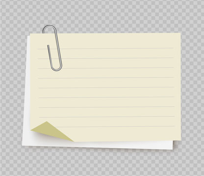 Vector realistic white yellow note paper from note pad with paper clip on transparent background.