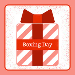 Boxing Day. Holiday in the UK and the British Commonwealth. 26 December. Gifts. Red gift box. Grunge texture