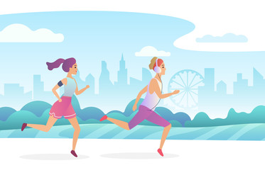 Happy couple running in the city public park. Trendy gradient flat style vector illustration.