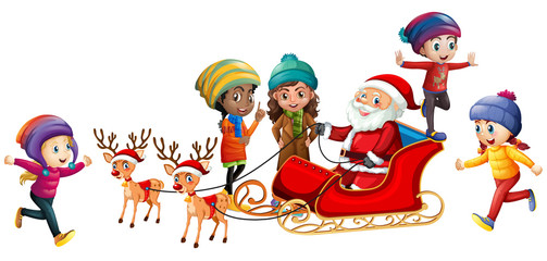 Santa and children on white background