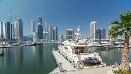 Panoramic timelapse view of business bay and downtown area of Dubai