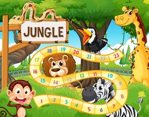 Jungle animal board game template