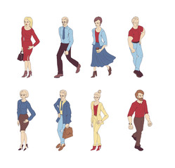 Group of people standing on white background vector. Business men and women cartoon style characters isolated.
