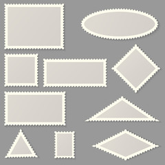 Postage stamps of various shapes and sizes