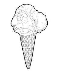 Ice Cream in a waffles isolated on chalkboard background. Hand drawing doodle vector