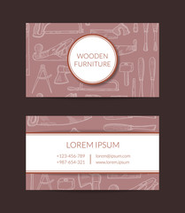 Vector hand drawn woodwork elements business card template for wooden furniture shop or hardware store illustration