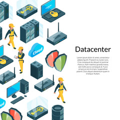 Vector electronic system of data center icons background with place for text illustration
