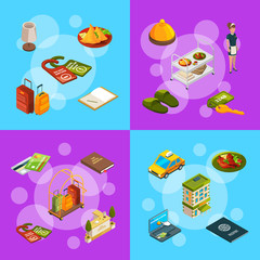 Vector isometric hotel icons infographic banner and poster concept illustration