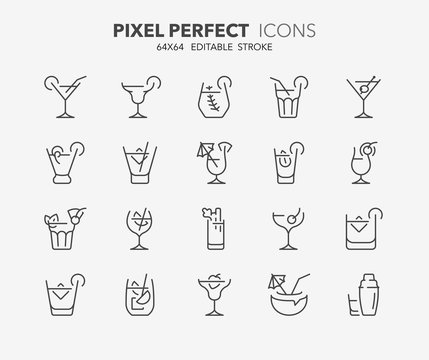 cocktails thin line icons