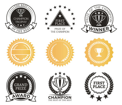 Champion Awards Collection Vector Illustration