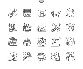 Landscaping equipment and tools Well-crafted Pixel Perfect Vector Thin Line Icons 30 2x Grid for Web Graphics and Apps. Simple Minimal Pictogram