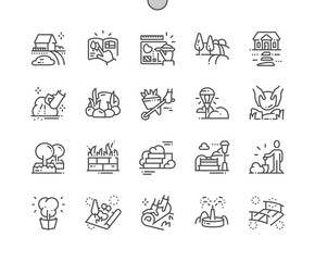 Landscaping Well-crafted Pixel Perfect Vector Thin Line Icons 30 2x Grid for Web Graphics and Apps. Simple Minimal Pictogram