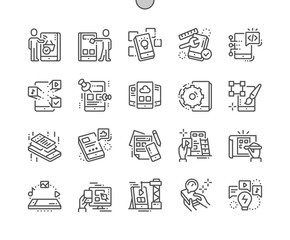 Mobile app development Well-crafted Pixel Perfect Vector Thin Line Icons 30 2x Grid for Web Graphics and Apps. Simple Minimal Pictogram