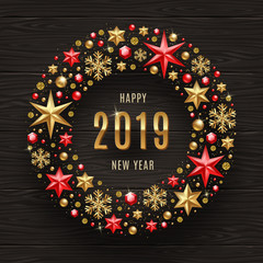 2019 New Year greeting illustration. New year greeting in frame which is made from holiday decor on a dark wooden background.
