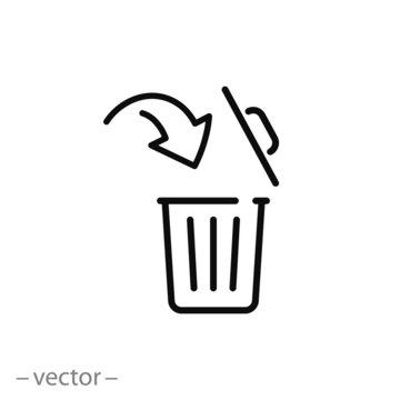 open trash bin icon, linear editable vector illustration eps10