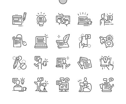 Blogging Well-crafted Pixel Perfect Vector Thin Line Icons 30 2x Grid for Web Graphics and Apps. Simple Minimal Pictogram