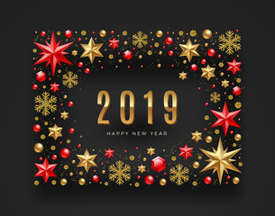 New Year 2019 greeting illustration. Frame made from stars, ruby gems, glitter gold snowflakes and beads. Vector illustration.