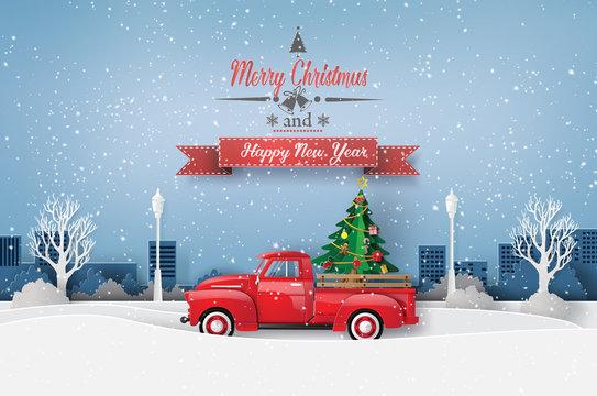 Peper art of Merry Christmas and winter season