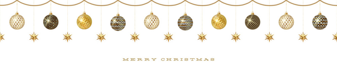 Seamless frieze with Christmas decoration - patterned baubles with golden stars. Vector illustration.