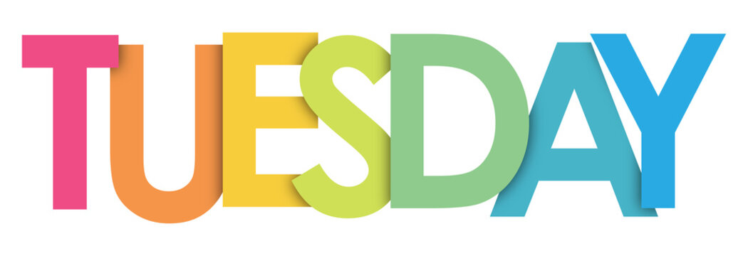 TUESDAY rainbow letters banner