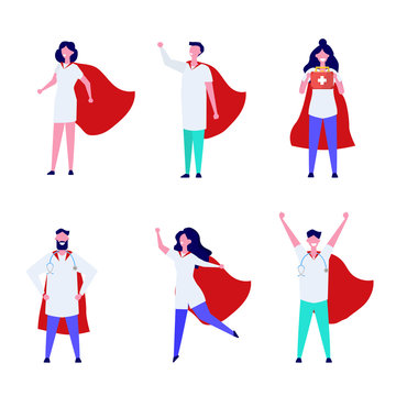 Super Doctor character set. Professional vector illustration in flat style.