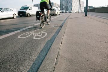 Bike lane on street in Berlin, Germany