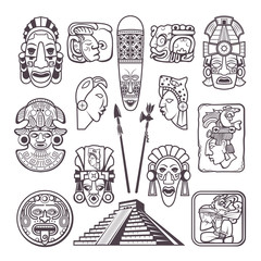 Monochrome pictures set of mayan culture symbols. Tribal masks and totems. Vector aztec tribal mythology, souvenir ancient illustration