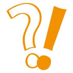 Handgezeichnetes Frage- und Ausrufezeichen in orange