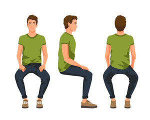 Fototapeta Vector illustration of three sitting men in casual clothes under the white background. Cartoon realistic people