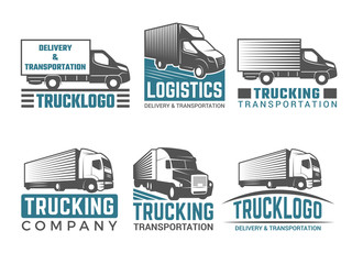 Truck logo. Business symbols emblems of transportation or logistics company with illustrations of various truck. Vector silhouettes. Truck transportation, transport freight cargo, logistic delivery